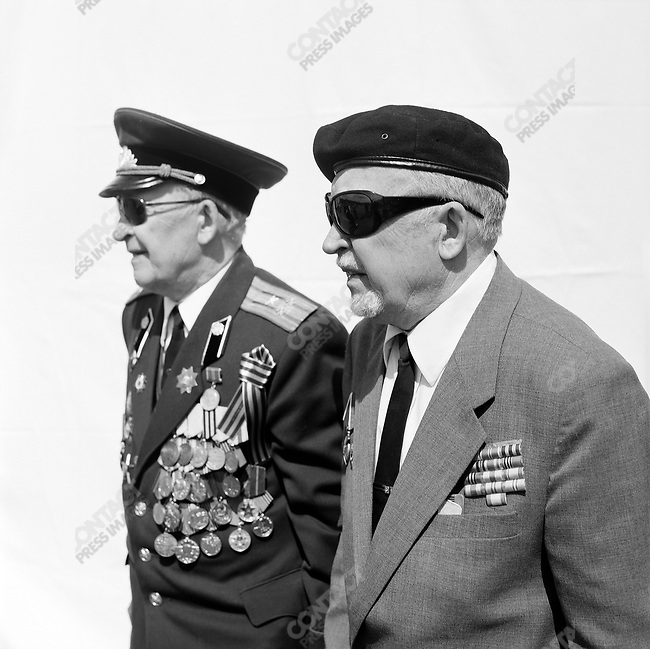 WWII veterans during Victory Day celebrations, Apollon (l) and Gennady (r) Grigoryevich Zarubin, b. 1925, Artillery. Moscow, Russia, May 9, 2009
