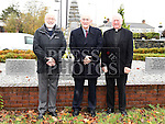 Reverend Graham, Peter Savage chairperson of Louth County Council and Fr O'Leary at the War memorial service at the Fair Green Ardee.  Photo:Colin Bell/pressphotos.ie