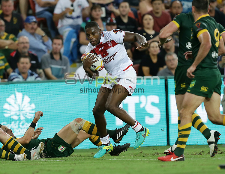 England's Jermaine McGillvary attacks during the Rugby League World Cup final between Australia and England, Suncorp Stadium, Brisbane, Australia, 2 December 2017. Copyright Image: Tertius Pickard / www.photosport.nz MANDATORY CREDIT/BYLINE : SWpix.com/PhotosportNZ