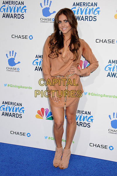 Cassie Scerbo.2nd Annual American Giving Awards held at the Pasadena Civic Auditorium, Pasadena, California, USA..December 7th, 2012.full length beige ankle boots peep toe belt nude .CAP/ADM/BP.©Byron Purvis/AdMedia/Capital Pictures.