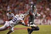 Hawgs Illustrated/BEN GOFF <br /> Jonathan Nance, Arkansas wide receiver, tries to break the tackle of Darrell Williams, Auburn linebacker, in the first quarter Saturday, Oct. 21, 2017, at Reynolds Razorbacks Stadium in Fayetteville.