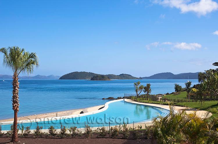 Waterfront swimming pool at Hamilton Island Yacht Club Villas.  Hamilton Island, Whitsundays, Queensland, Australia