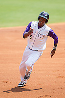 Cleuluis Rondon (5) of the Winston-Salem Dash hustles towards third base against the Frederick Keys at BB&T Ballpark on July 30, 2014 in Winston-Salem, North Carolina.  The Dash defeated the Keys 12-2.   (Brian Westerholt/Four Seam Images)