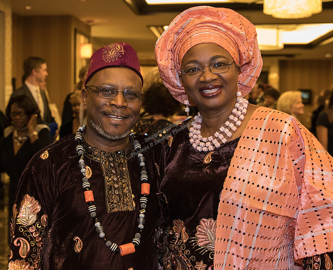 Ambassador Victor Wowo Sr.and Gladys Wowo of the African Union of Northern Nevada during the 29th Annual Dr. Martin Luther King, Jr. Dinner Celebration at the Atlantis Casino Resort Spa in Reno, Monday night, Jan. 16, 2017.