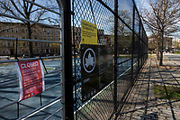 NEW YORK, NY - April 14: A sign indicates that the playgrounds are closed by Covic-19 at Mariana Hernandez Park on April 14, 2020 in Brooklyn, NY. The global number of deaths from COVID-19 has reached 122,000 and infected more than 1.9 million people. Experts believe the number may be greater. (Photo by Pablo Monsalve / VIEWpress via Getty Images)