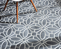Maxwell, a handmade mosaic shown in Venetian honed Bardiglio and Tropical White glass. Designed by Sara Baldwin for New Ravenna.<br />