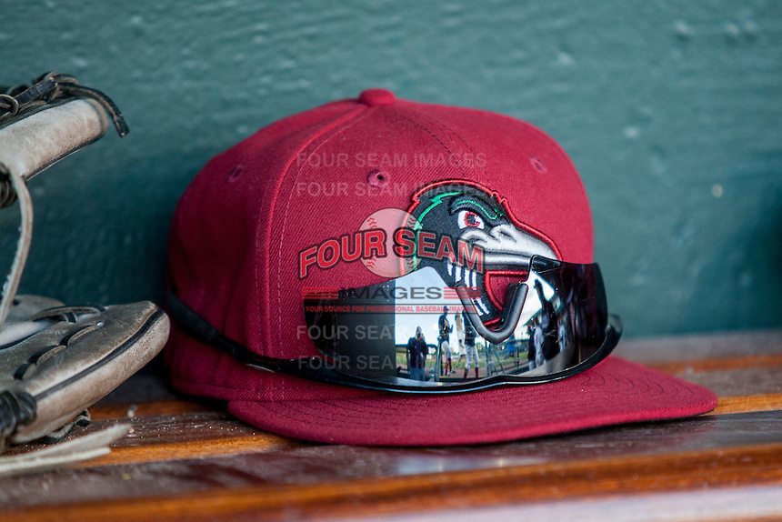 Great Lakes Loons hat on May 18, 2016 at Dow Diamond in Midland, Michigan. (Andrew Woolley/Four Seam Images)