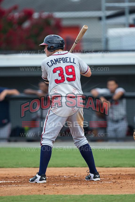 Jeff Campbell (39) of the Danville Braves at bat against the Burlington Royals at Burlington Athletic Park on July 12, 2015 in Burlington, North Carolina.  The Royals defeated the Braves 9-3. (Brian Westerholt/Four Seam Images)