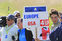 Dustin Johnson and Rickie Fowler Team USA beat Rory McIlroy and Thorbjorn Olesen Team Europe 4and2 on the 16th green during Friday's Fourball Matches at the 2018 Ryder Cup, Le Golf National, Iles-de-France, France. 28/09/2018.<br /> Picture Eoin Clarke / Golffile.ie<br /> <br /> All photo usage must carry mandatory copyright credit (© Golffile | Eoin Clarke)