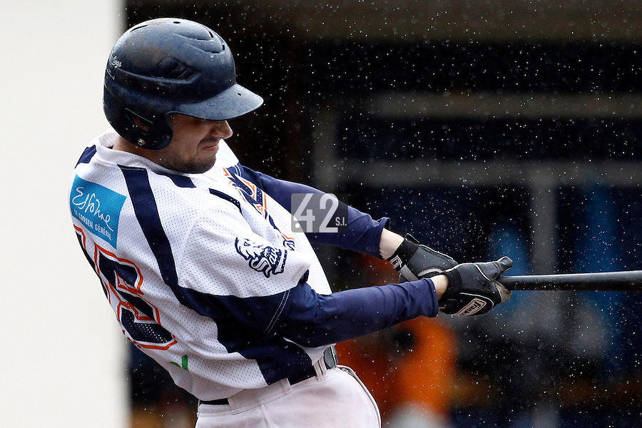 16 July 2011: Jerome Dussart of Savigny is seen at bat during the 2011 Challenge de France match won 5-4 by the Savigny Lions over the Senart Templiers, at Stade Pierre Rolland, in Rouen, France.