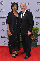 Cheryl Boone Isaacs + husband Stanley Isaacs @ the 44th AFI Life Achievement award tribute honoring John Williams held @ the Dolby theatre. June 9, 2016