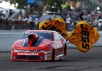 Aug 16, 2014; Brainerd, MN, USA; NHRA pro stock driver Erica Enders-Stevens during qualifying for the Lucas Oil Nationals at Brainerd International Raceway. Mandatory Credit: Mark J. Rebilas-USA TODAY Sports