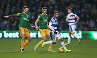 Queens Park Rangers' Nahki Wells is shadowed by Preston North End's Alan Browne and Jordan Storey<br /> <br /> Photographer Rob Newell/CameraSport<br /> <br /> The EFL Sky Bet Championship - Queens Park Rangers v Preston North End - Saturday 19 January 2019 - Loftus Road - London<br /> <br /> World Copyright &copy; 2019 CameraSport. All rights reserved. 43 Linden Ave. Countesthorpe. Leicester. England. LE8 5PG - Tel: +44 (0) 116 277 4147 - admin@camerasport.com - www.camerasport.com