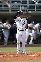 Connor Klemann (4) of the Penn State Nittany Lions at bat against the Xavier Musketeers at Coleman Field at the USA Baseball National Training Center on February 25, 2017 in Cary, North Carolina. The Musketeers defeated the Nittany Lions 10-4 in game one of a double header. (Brian Westerholt/Four Seam Images)
