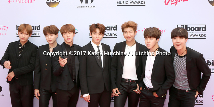 LAS VEGAS - MAY 21:  BTS at the 2017 Billboard Music Awards - Arrivals at the T-Mobile Arena on May 21, 2017 in Las Vegas, NV