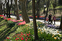 Muslim family in Emirgan park during the spring time, Istanbul, Turkey
