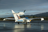 A Seawind One amphibian aicraft tied down at the Petaluma Municipal Airport, Petaluma, Sonoma County, California.