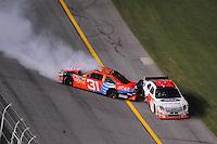 Jul. 5, 2008; Daytona Beach, FL, USA; NASCAR Sprint Cup Series driver Jeff Burton (31) slides down into Travis Kvapil (28) during the Coke Zero 400 at Daytona International Speedway. Mandatory Credit: Mark J. Rebilas-