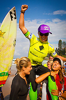 "DEE WHY, Sydney NSW/AUS (Saturday, April 21, 2012) Courtney Conlogue (USA) being carried up the ebeach by Stephanie Gilmore (AUS) and Sally Fitzgibbons (AUS). The Finals of the 2012 Commonwealth Bank Beachley Classic were completed today with Courtney Conlogue (USA) defeating Malia Manuel (HAW) for her first elite women's tour event win. Both finalist had never made it as far before in an ASP World Tour event. The surf was clean, with two-to-three foot (1.5 meter) waves on offer for the Top 17 female surfers in the world to battle for the richest prize purse on the ASP Womens World Championship Tour.. .Stop No. 4 of 7 on the 2012 ASP Womens World Championship Tour, the Commonwealth Bank Beachley Classic is run by seven-time ASP Womens World Champion Layne Beachley, and is in its seventh year.. .""There are a lot of sevens in my life at the moment,"" Beachley said. ""I'm so proud I've been able to run this event for seven years. I'm really appreciative of the Commonwealth Bank's support and am thrilled with the level of women's surfing. It's Finals day today. We've had a decrease in swell, but the girls are incredible at what they do and I'm sure they'll be able to put on a great show today. I'll be getting in the water later in the day for the celebrity challenge, and the Nikon Expression Session."" .Manuel defeated Stephanie Gilmore (AUS) in the quarterfinals and Conlogue defeated Sally Fitzgibbons (AUS) also in the quarterfinals. Gilmore remains number one on the world tour ratings with Fitzgibbons in second place. Photo: joliphotos.com"