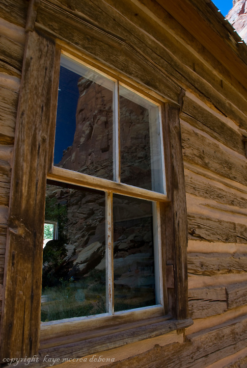 Landscapes of Capitol Reef National Park-reflections from Fruita schoolhouse window