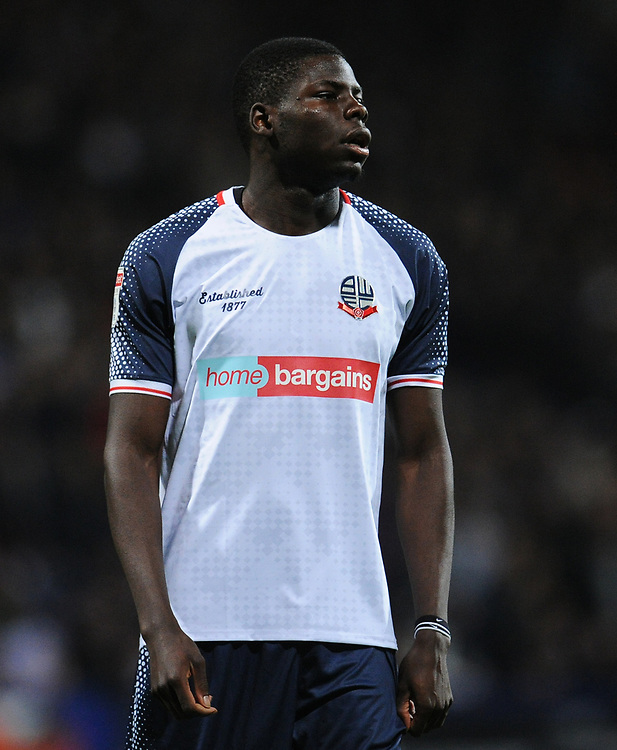 Bolton Wanderers' Yoan Zouma<br /> <br /> Photographer Kevin Barnes/CameraSport<br /> <br /> The EFL Sky Bet League One - Bolton Wanderers v Blackpool - Monday 7th October 2019 - University of Bolton Stadium - Bolton<br /> <br /> World Copyright © 2019 CameraSport. All rights reserved. 43 Linden Ave. Countesthorpe. Leicester. England. LE8 5PG - Tel: +44 (0) 116 277 4147 - admin@camerasport.com - www.camerasport.com