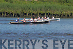 Workmens Rowing Club crew pulls ahead of the Killorglin RC crew during the Seniors race at Callinafercy Regatta on Sunday..