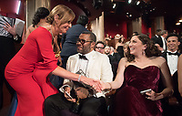 Oscar&reg; nominees Allison Janney and Jordan Peele, and Chelsea Peretti during The 90th Oscars&reg; at the Dolby&reg; Theatre in Hollywood, CA on Sunday, March 4, 2018.<br /> *Editorial Use Only*<br /> CAP/PLF/AMPAS<br /> Supplied by Capital Pictures