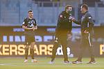 Werder Bremen im neuen Trikot, Maximilian Eggestein (Werder Bremen #35), Florian Kohfeldt (Trainer SV Werder Bremen), Frank Schmidt (1. FC Heidenheim 1846 #Trainer, Headcoach) bei der Begruessung<br /> <br /> <br /> Sport: nphgm001: Fussball: 1. Bundesliga: Saison 19/20: Relegation 02; 1.FC Heidenheim vs SV Werder Bremen - 06.07.2020<br /> <br /> Foto: gumzmedia/nordphoto/POOL <br /> <br /> DFL regulations prohibit any use of photographs as image sequences and/or quasi-video.<br /> EDITORIAL USE ONLY<br /> National and international News-Agencies OUT.