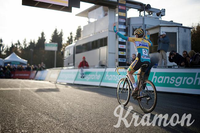 victorious Nikki Harris (GBR/Telenet-Fidea)<br /> <br /> Superprestige Francorchamps 2014