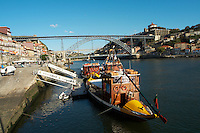 Dom Luis I bridge seen from Cais da Ribeira passenger ferry boat porto portugal