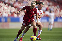 11th March 2020, Frisco, Texas, USA;  Rachel Daly of England left defends against Marta Cardona of during the 2020 SheBelieves Cup Womens International Friendly football match between England Women vs Spain Women at Toyota Stadium in Frisco, Texas