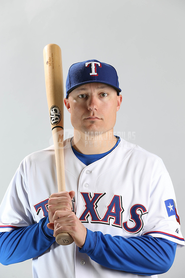 Feb. 20, 2013; Surprise, AZ, USA: Texas Rangers second baseman Jeff Baker poses for a portrait during photo day at Surprise Stadium. Mandatory Credit: Mark J. Rebilas-