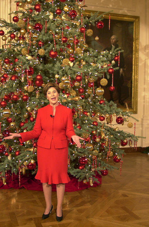 lbxmas120502e - First Lady Laura Bush in front of a Christmas tree at the White House. The First Lady held a preview of the seasonal decorations today.