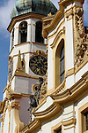 The Loreta bell tower in Prague, Czech Republic. The Loreta in Prague is a pilgrimage destination, the cloister and church date back to the early 17th century.