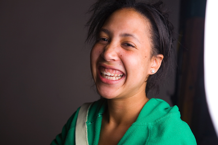 July 29, 2006; Oakland, CA, USA; Portrait of a teenage girl laughing in Oakland, CA. Photo by: Phillip Carter