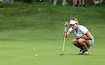 DES MOINES, IA - AUGUST 19: USA's Lexi Thompson lines up a birdie putt on the 4th hole during Saturday morning's foursomes match at the 2017 Solheim Cup in Des Moines, IA. (Photo by Dave Eggen/Inertia)