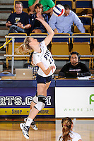13 November 2010:  FIU's Ines Medved (11) hits a kill shot in the first set as the FIU Golden Panthers defeated the South Alabama Jaguars, 3-0 (25-12, 25-12, 25-20), at U.S Century Bank Arena in Miami, Florida.