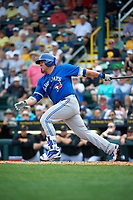 Toronto Blue Jays catcher Humberto Quintero (46) at bat during a Spring Training game against the Pittsburgh Pirates on March 3, 2016 at McKechnie Field in Bradenton, Florida.  Toronto defeated Pittsburgh 10-8.  (Mike Janes/Four Seam Images)