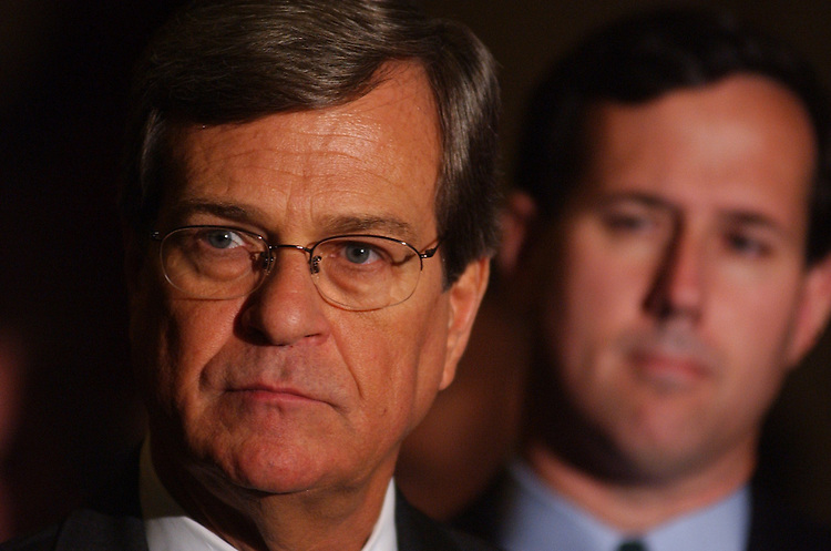 2Lott101601 -- Sen. Trent Lott, R-Miss., and Sen. Rick Santorum, R-Pa., speaks to the press at the Senate Luncheons.