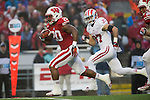 Wisconsin Badgers running back James White (20) scores on a 93-yard touchdown run on during an NCAA Big Ten Conference Football game against the Indiana Hoosiers Saturday, November 16, 2013, in Madison, Wis. The Badgers won 51-3. (Photo by David Stluka)