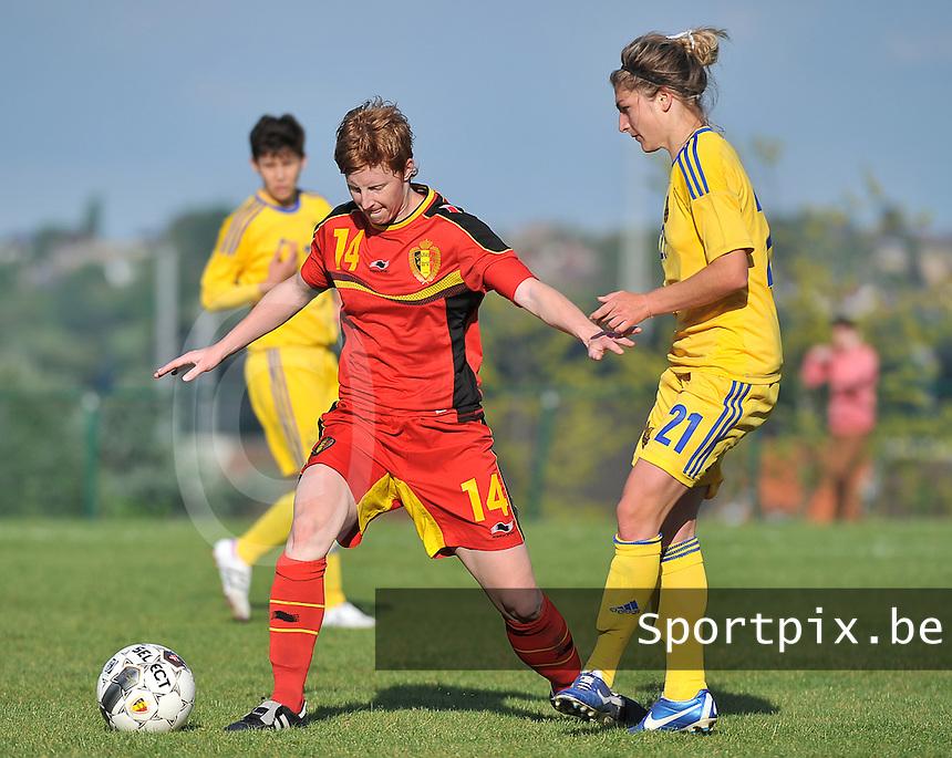 Belgium - Ukraine : Lien Mermans (14) en Daria Vorontsova<br /> foto DAVID CATRY / Nikonpro.be