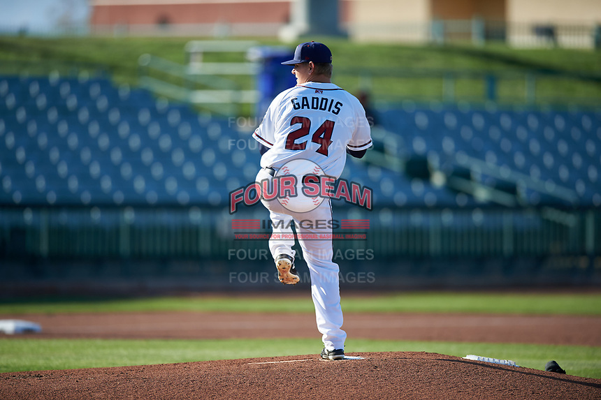 Lancaster JetHawks starting pitcher Will Gaddis (24) during a California League game against the Lake Elsinore Storm on April 10, 2019 at The Hangar in Lancaster, California. Lake Elsinore defeated Lancaster 10-0 in the first game of a doubleheader. (Zachary Lucy/Four Seam Images)