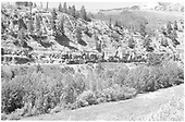 D&amp;RGW #268 with gondolas at slate cut south of Crested Butte alomg Slate River.<br /> D&amp;RGW  Crested Butte (s. of), CO  Taken by Richardson, Robert W. - 7/3/1952