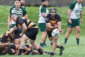 Matiaha Martin clears the ball from a ruck. Counties Manukau Premier Counties Power Club Rugby Round 4 game between Bombay and Manurewa, played at Bombay on Saturday March 31st 2018. <br /> Manurewa won the game 25 - 17 after trailing 15 - 17 at halftime.<br /> Bombay 17 - Ki Anufe, Chay Macwood tries, Tim Cossens, Ki Anufe conversions,  Ki Anufe penalty. <br /> Manurewa Kidd Contracting 25 - Peter White 2 , Willie Tuala 2 tries, James Faiva conversion,  James Faiva penalty.<br /> Photo by Richard Spranger.