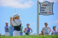 Cristie Kerr (USA) watches her tee shot on 2 during Sunday's final round of the 72nd U.S. Women's Open Championship, at Trump National Golf Club, Bedminster, New Jersey. 7/16/2017.<br /> Picture: Golffile | Ken Murray<br /> <br /> <br /> All photo usage must carry mandatory copyright credit (&copy; Golffile | Ken Murray)
