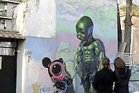 Roma, marzo 2015<br /> Murales nel quartiere popolare del Quadraro nella periferia sud est di Roma.<br /> Murales di Ron English.