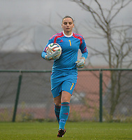 20141126 - TUBIZE , BELGIUM : Belgian goalkeeper Nicky Evrard pictured during the Friendly female soccer match between Women under 19 / 21  teams of  Belgium and Turkey .Wednesday 26th November 2014 . PHOTO DAVID CATRY