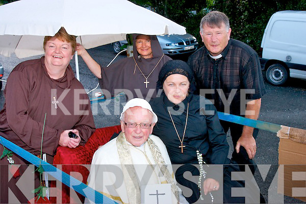 Pope Francis aka Frank Maunsell got a great welcome from the large crowd at the Féile Lúghnasa festival parade last Sunday evening in Cloghane village, also pictured were l-r: Kathleen Brosnan, Josephine Maunsell, Sandra O'Donnell and Chris Power.