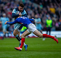 8th March 2020; Murrayfield Stadium, Edinburgh, Scotland; International Six Nations Rugby, Scotland versus France; Ali Price of Scotland of Scotland is tackled by Peato Mauvaka of France