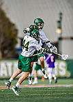 6 April 2019:  University of Vermont Catamount Midfielder Sal Iaria, a Freshman from Bainbridge Island, WA, and Midfielder Thomas McConvey, a Freshman from Toronto, Ontario, celebrate a goal against the University at Albany Great Danes on Virtue Field in Burlington, Vermont. The Cats rallied to defeat the Danes 10-9 in America East divisional play. Mandatory Credit: Ed Wolfstein Photo *** RAW (NEF) Image File Available ***
